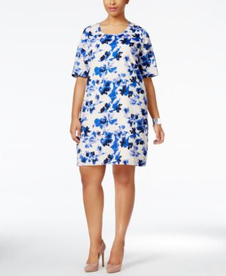 Junarose Plus Size Short-Sleeve Printed Sheath Dress