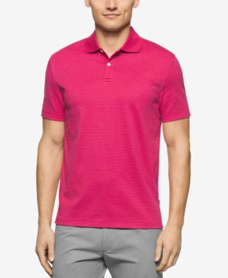 Calvin Klein Men's Three-Button Striped Liquid Cotton Polo
