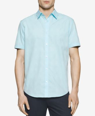 Calvin Klein Men's Mini-Grid Dobby Short-Sleeve Shirt