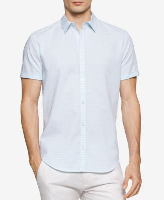 Calvin Klein Men's Horizontal Striped Dobby Short-Sleeve Shirt