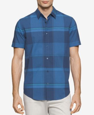 Calvin Klein Men's Large-Check Short-Sleeve Shirt