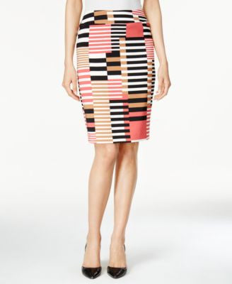 Nine West Printed Twill Pencil Skirt