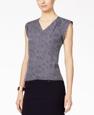 Nine West Printed Cap-Sleeve V-Neck Shell