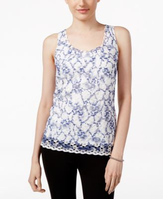 Tahari ASL Sleeveless Printed Lace Blouse