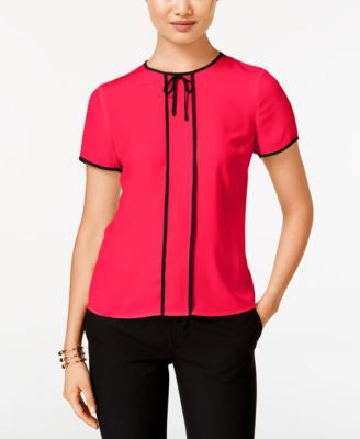 CeCe Ribbon-Trim Tie-Neck Top