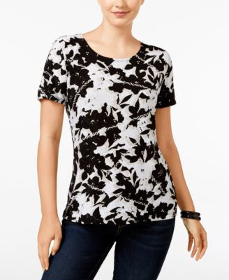 JM Collection Petite Floral-Print Top, Only at Vogily