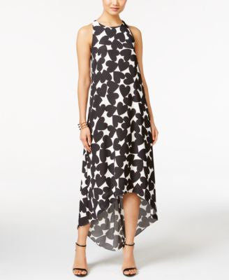CeCe Heart-Print High-Low Maxi Dress