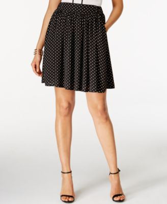 CeCe Dot-Print Fit & Flare Skirt