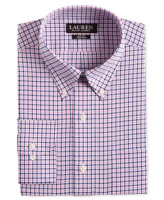 Lauren Ralph Lauren Men's Slim-Fit Non-Iron Pink and Blue Check Dress Shirt
