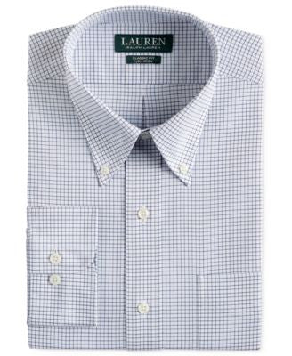 Lauren Ralph Lauren Men's Classic-Fit Non-Iron Navy Tattersall Dress Shirt