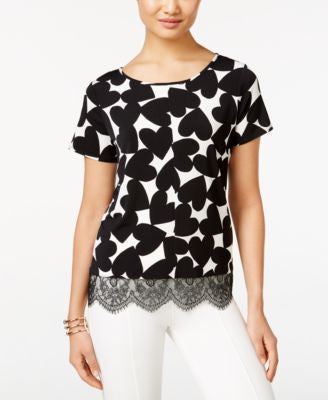 CeCe Heart-Print Lace-Hem Top