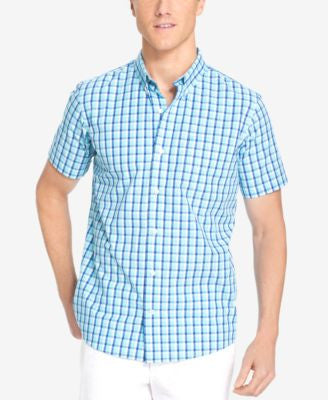 IZOD Men's Big & Tall Grid Non-Iron Short-Sleeve Shirt