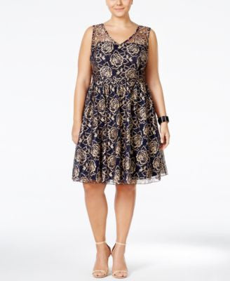 American Rag Trendy Plus Size Lace A-Line Dress, Only at Vogily
