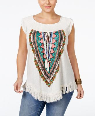 American Rag Trendy Plus Size Printed Fringe Top, Only at Vogily