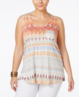 American Rag Plus Size Printed Tank Top, Only at Vogily