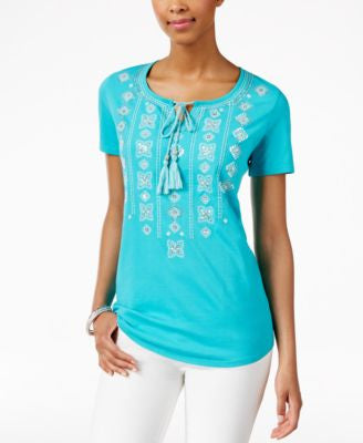 JM Collection Petite Embellished Peasant Top, Only at Vogily