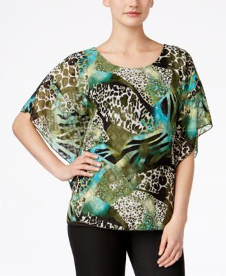 JM Collection Printed Buttefly-Sleeve Top, Only at Vogily