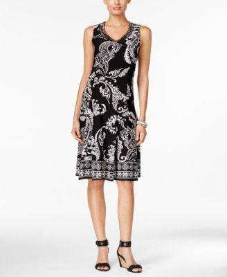 JM Collection Sleeveless Paisley-Print Dress, Only at Vogily
