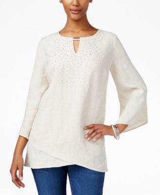 JM Collection Linen Studded Tunic, Only at Vogily