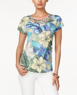 Alfred Dunner Petite Tropical-Print Lattice-Detail Top