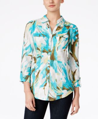 JM Collection Linen Printed Shirt, Only at Vogily