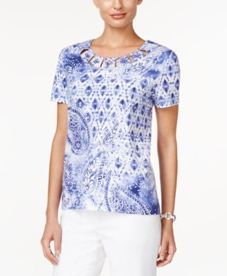 Alfred Dunner Cyprus Collection Paisley-Print Beaded Top