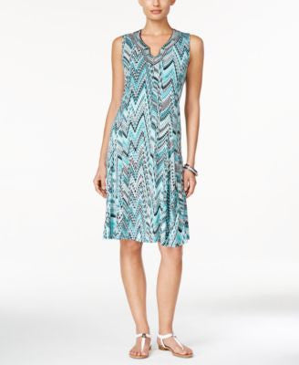 JM Collection Sleeveless Printed Dress, Only at Vogily