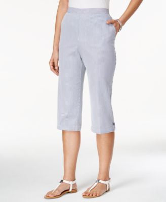 Alfred Dunner Petite Pinstriped Pull-On Capri Pants