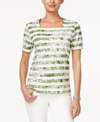 Alfred Dunner Cyprus Collection Striped Square-Neck Top