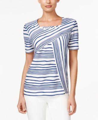 Alfred Dunner St. Augustine Collection Striped Beaded Top