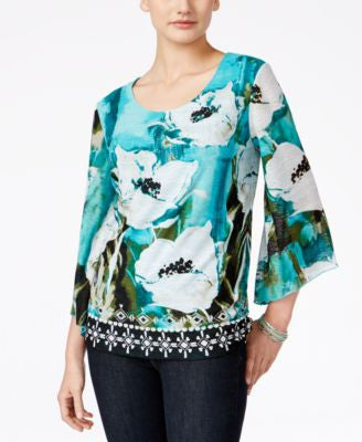 JM Collection Petite Printed Embellished Top, Only at Vogily