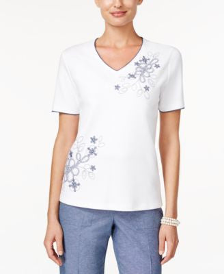 Alfred Dunner St. Augustine Collection Embroidered Beaded Top