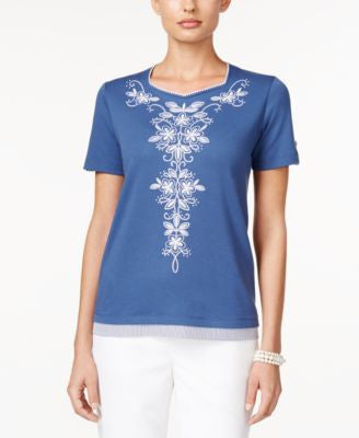 Alfred Dunner St. Augustine Collection Short-Sleeve Embroidered Top