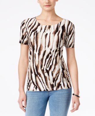 JM Collection Animal-Print Short-Sleeve Top, Only at Vogily