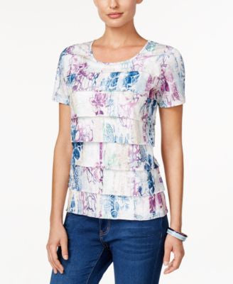 Alfred Dunner St. Augustine Collection Floral-Print Tiered Top