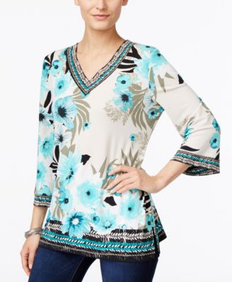 JM Collection Petite Floral-Print Embellished Top, Only at Vogily