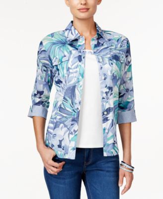 Alfred Dunner St. Augustine Collection Layered-Look Printed Top