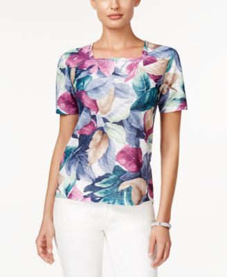 Alfred Dunner St. Augustine Collection Leaf-Print Square-Neck Top