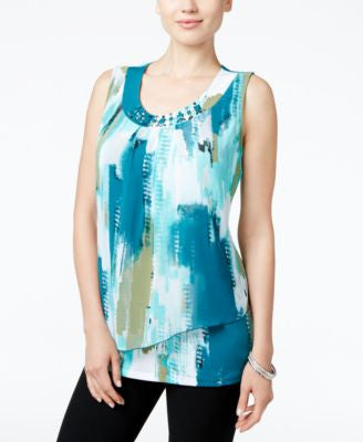 JM Collection Printed Beaded Top, Only at Vogily