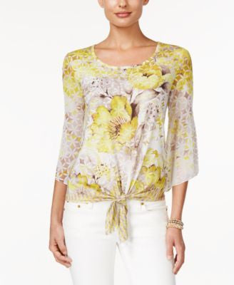 JM Collection Printed Tie-Front Top, Only at Vogily