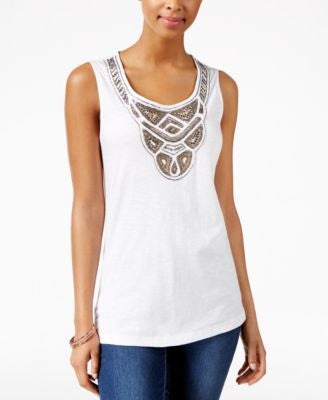JM Collection Beaded Tank Top, Only at Vogily