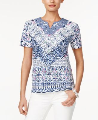 Alfred Dunner St. Augustine Collection Printed Crocheted-Trim Top