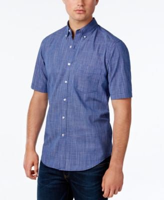 Club Room Men's Micro-Check Short-Sleeve Shirt, Only at Vogily
