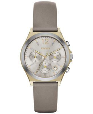 DKNY Women's Chronograph Parsons Gray Leather Strap Watch 38mm NY2478