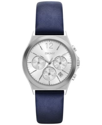 DKNY Women's Chronograph Parsons Blue Leather Strap Watch 38mm NY2476