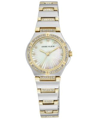 Anne Klein Women's Crystal Two-Tone Stainless Steel Bracelet Watch 28mm AK-2417MPTT