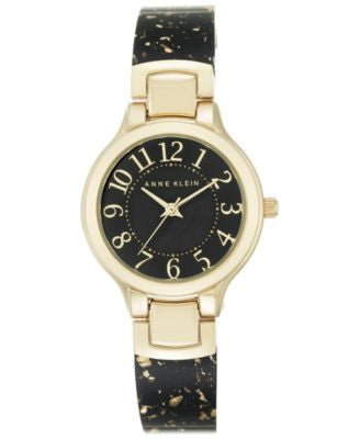 Anne Klein Women's Black Half Bangle Bracelet Watch 30mm AK-2380BKGB
