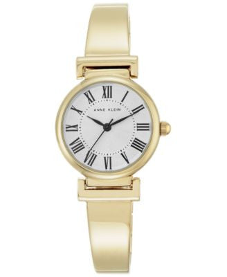 Anne Klein Women's Gold-Tone Stainless Steel Bangle Bracelet Watch 28mm AK-2228SVGB