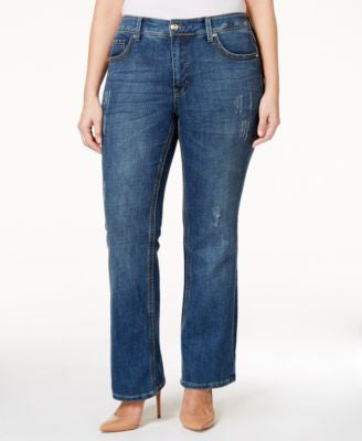 Melissa McCarthy Seven7 Trendy Plus Size Decoy Wash Ripped Bootcut Jeans