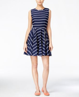 Maison Jules Striped Fit & Flare Dress, Only at Vogily